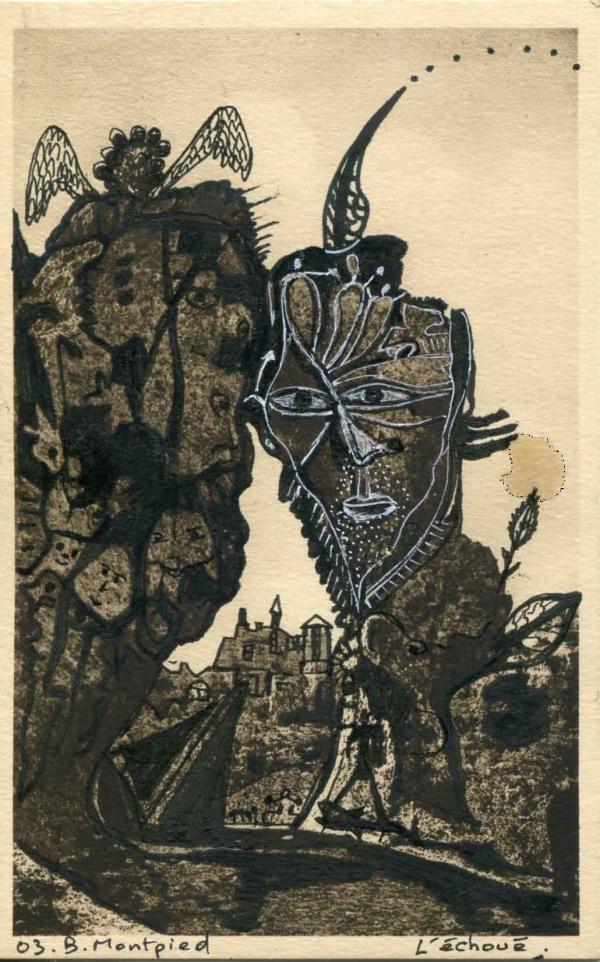 L'échoué, carte postale modifiée, 2003