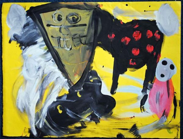 Sans titre, peinture collective avec des enfants, en 1998