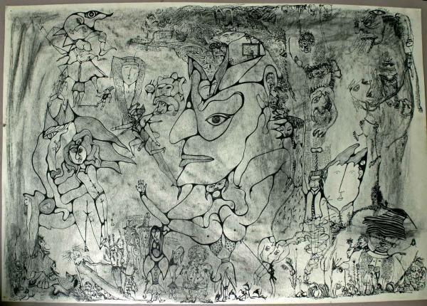 Sans titre, un grand dessin réalisé à deux en 1983, avec Régis Gayraud