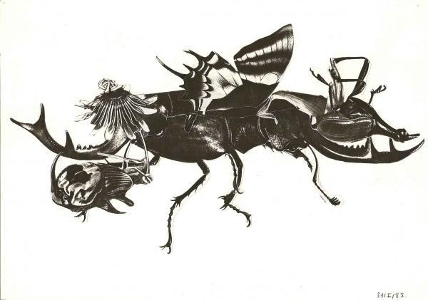 Un collage noir et blanc de 1985, une sorte d'insecte nouveau